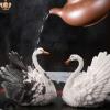 创意变色茶玩白色天鹅茶台茶具摆件招财进宝变色喷水貔貅树脂茶宠