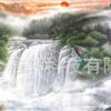 国画山水聚宝盆卷轴画靠山风水画家居客厅装饰画丝绸挂画