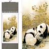 国宝银杏熊猫卷轴画 客厅儿童房装饰画 丝绸挂画装裱