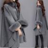 2018冬装新款韩版狐狸毛领中长款羊毛呢子大衣气质斗篷披肩外套女