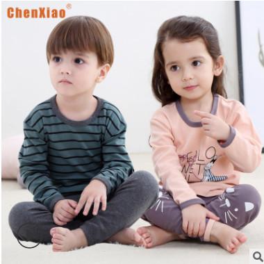 新款儿童纯棉内衣磨毛套装中大童秋衣秋裤宝宝全棉打底两件套代发