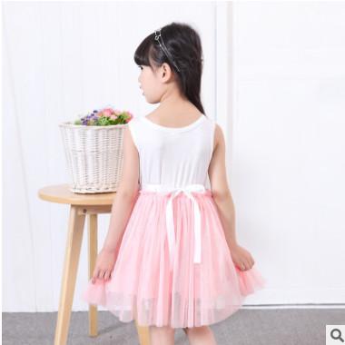 韩版童装女童网纱连衣裙夏装新款 中小童背心公主裙无袖潮