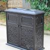 高档户外铁艺垃圾桶双桶别墅黑色复古方形高档 室外铁艺垃圾箱