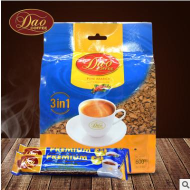 老挝原装DAO蓝袋冻干粉技术3合1速溶咖啡浓香丝滑600g30条包邮